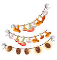 mushrooms and cones are dried on a rope isolated vector image vector image