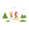people hiking backpack forest nature landscape vector image