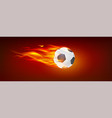 realistic flying burning classical football ball vector image vector image