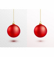 red christmas ball hanging on gold string isolated vector image