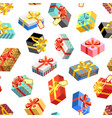 seamless pattern with different giftboxes colored vector image vector image