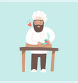 smiling chef cuting vegetables with a knife vector image