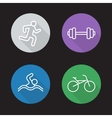 Sport flat linear icons set vector image