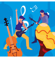 two male musicians musical instruments vector image vector image