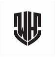 wh logo monogram with emblem shield shape design vector image vector image