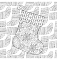 Winter knitted ethnic Sock for gift from Santa on vector image vector image
