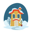 winter landscape at night house covered with snow vector image vector image