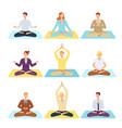 women men doing yoga in lotus posture vector image