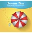 Sunshade and flip-flops on the beach vector image