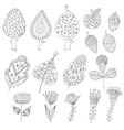 Set of cartoon doodle trees flowers fruits vector image