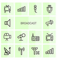 14 broadcast icons vector image vector image