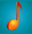 3d bright orange music note icon vector image vector image