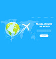 airplane fly around earth globe concept vector image