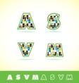 Alphabet letter set tiles vector image vector image
