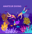 amateur diving isometric composition vector image