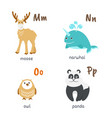animal alphabet with moose narwhal owl panda vector image vector image