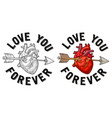 arrow pierced the heart love you forever vector image vector image