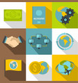 business travel icons set flat style vector image vector image
