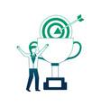 businessman celebrating trophy and target business vector image