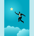 businessman jumps to reach out for the star vector image vector image