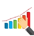 Businessman pointing at growth graph vector image vector image