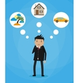 Cartoon businessman dreaming vector image