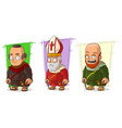 cartoon old monk and priest characters set vector image