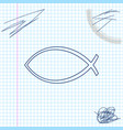 christian fish symbol line sketch icon isolated on vector image vector image