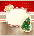 christmas background with tree and label vector image