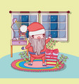 cute christmas santa claus with gifts in the house vector image vector image