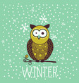 cute shocked cartoon owl in winter vector image