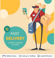 deliveryman and ad text vector image vector image