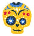 dia de los muertos painted skull with ornaments vector image