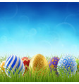 easter background with and grass vector image vector image