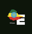 ethiopia initial letter country with map and flag vector image