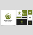 farm house logo design and business card vector image vector image