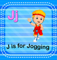 flashcard letter j is for jogging vector image vector image