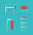 flat sports equipment icons for gym training vector image vector image