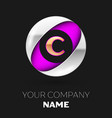 golden letter c logo in the silver-purple circle vector image