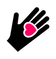 hand with heart new icon two-tone silhouette vector image vector image
