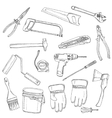 House renovation tools set black outline vector image