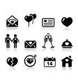 Love Valentine black icon set vector image