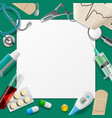 medical template and frame with medicine equipment vector image vector image