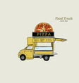 mobile food truck van with pizza vector image vector image