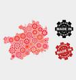 mosaic guizhou province map gearwheel elements vector image vector image