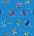 multicolored kayaks with paddlers on blue water vector image