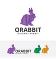 origami rabbit logo vector image