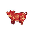 pig for happy chinese new year celebration in red vector image vector image