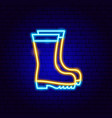 rubber boots neon sign vector image vector image