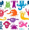 Seamless pattern with funny monsters vector image
